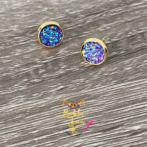 Deep Purple Faux Druzy Studs 8mm: Choose Silver or Gold Settings