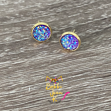 Load image into Gallery viewer, Purple Faux Druzy Studs 8mm: Choose Silver or Gold Settings