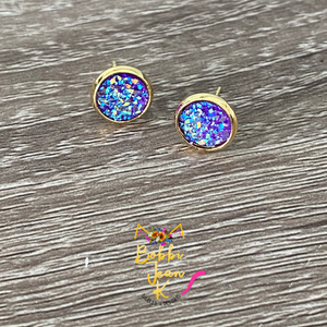 Purple Faux Druzy Studs 8mm: Choose Silver or Gold Settings