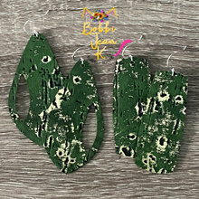 "Load image into Gallery viewer, Deep Green ""Wildwood"" Leather Earrings- Peek a Boo Drop & Bar Shape Options"