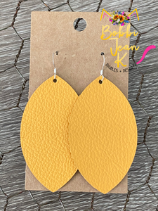 Mustard Leather Earrings- Leaf & Rounded Teardrop Shape Options