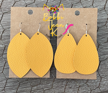 Load image into Gallery viewer, Mustard Leather Earrings- Leaf & Rounded Teardrop Shape Options