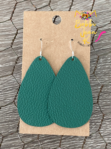 Deep Green Leather Earrings- Leaf & Rounded Teardrop Shape Options