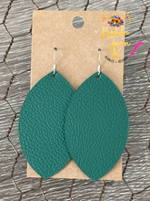 Load image into Gallery viewer, Deep Green Leather Earrings- Leaf & Rounded Teardrop Shape Options