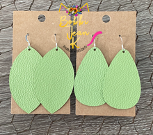 Load image into Gallery viewer, Light Green Leather Earrings- Leaf & Rounded Teardrop Shape Options
