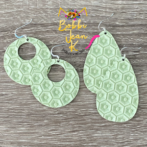 Light Apple Green Honeycomb Embossed Leather Earrings- Rounded Teardrop & Small Hoop Shape Options