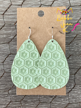 Load image into Gallery viewer, Light Apple Green Honeycomb Embossed Leather Earrings- Rounded Teardrop & Small Hoop Shape Options