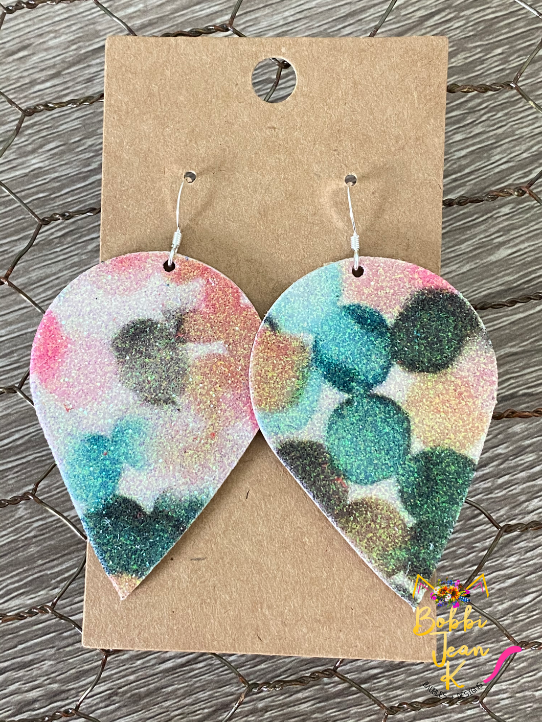 Infused Pink & Green Glitter Polka Dotted Inverted Teardrops