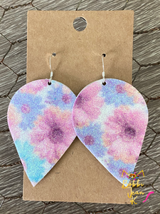 Infused Glitter Floral Inverted Teardrops