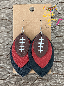 Burgundy/Garnet & Black Layered Leaf Football Leather Earrings