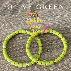 Olive Green Polymer Clay Stretch Bracelet- Your Choice of Silver or Gold Accent