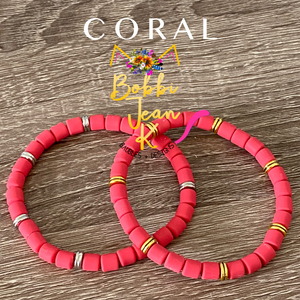 Coral Polymer Clay Stretch Bracelet- Your Choice of Silver or Gold Accent