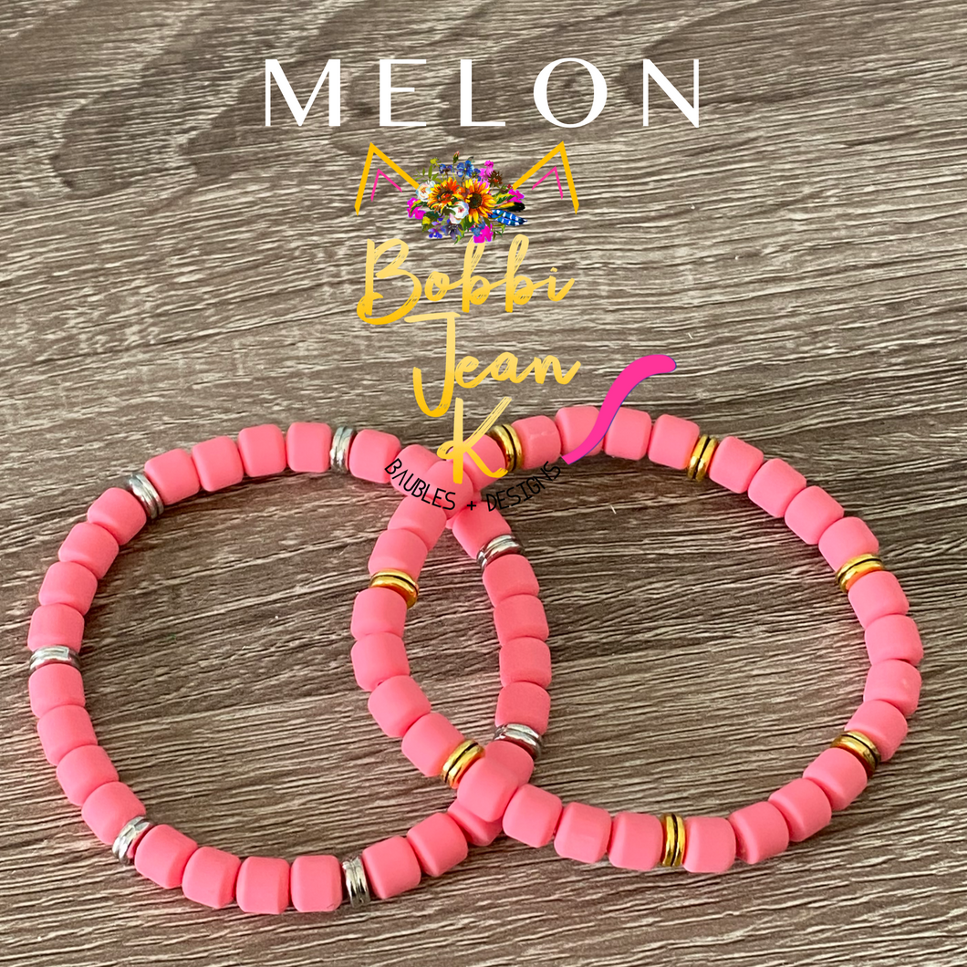Melon Polymer Clay Stretch Bracelet- Your Choice of Silver or Gold Accent