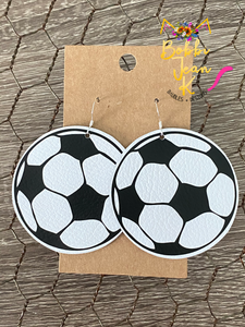 Soccer Ball Leather Earrings- Choose Small or Large Size