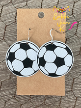 Load image into Gallery viewer, Soccer Ball Leather Earrings- Choose Small or Large Size