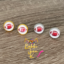 Load image into Gallery viewer, Football Glass Studs 12mm: Choose Silver or Gold Settings