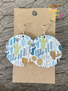 Cactus Time Circle Leather Earrings