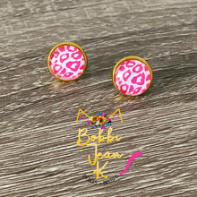 Load image into Gallery viewer, Pink Leopard Glass Studs 12mm: Choose Silver or Gold Settings