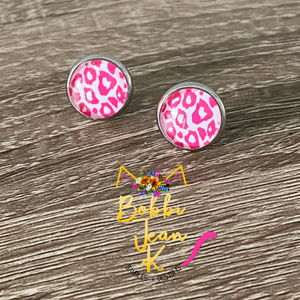 Pink Leopard Glass Studs 12mm: Choose Silver or Gold Settings