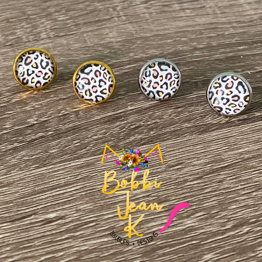 Pastel Leopard Glass Studs 12mm: Choose Silver or Gold Settings