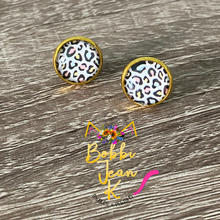 Load image into Gallery viewer, Pastel Leopard Glass Studs 12mm: Choose Silver or Gold Settings