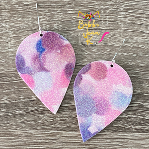 Infused Pink & Purple Glitter Polka Dotted Inverted Teardrops