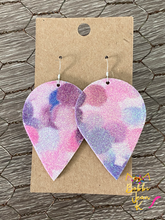 Load image into Gallery viewer, Infused Pink & Purple Glitter Polka Dotted Inverted Teardrops