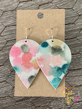 Load image into Gallery viewer, Infused Pink & Green Glitter Polka Dotted Inverted Teardrops