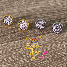 Load image into Gallery viewer, Leopard Print Glass Studs 12mm: Choose Silver or Gold Settings