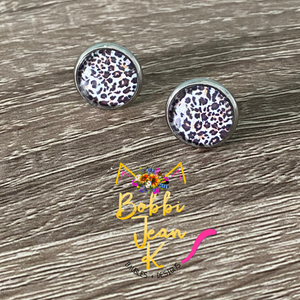 Leopard Print Glass Studs 12mm: Choose Silver or Gold Settings