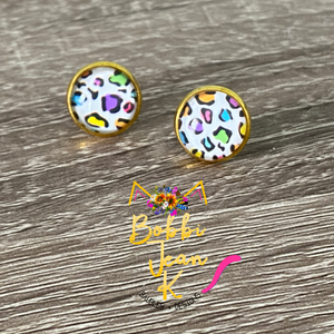 Colorful Leopard Glass Studs 12mm: Choose Silver or Gold Settings