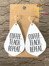 Load image into Gallery viewer, Coffee.Teach.Repeat Leather Earrings