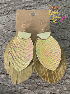 Double Layer Fringe Leaf- Dark Mustard with Iridescent Snakeskin Print