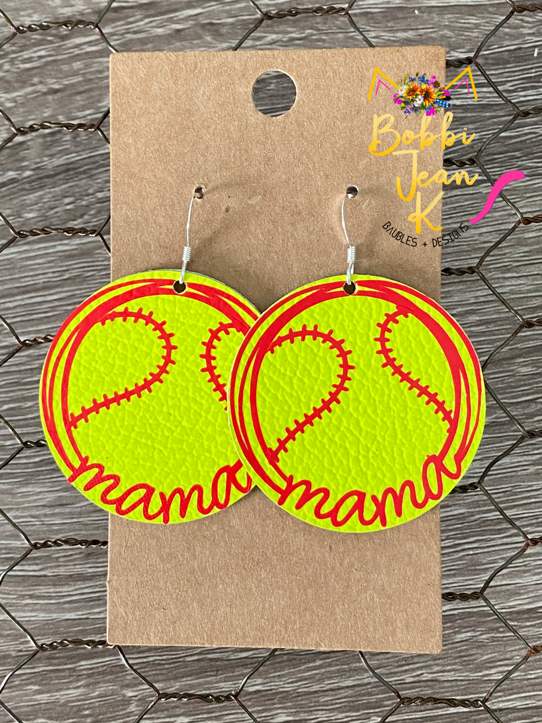 Softball Mama Leather Earrings- Choose Small or Large Size