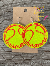 Load image into Gallery viewer, Softball Mama Leather Earrings- Choose Small or Large Size