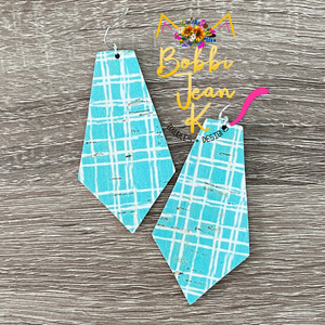 Teal Canvas Cork on Leather Earrings: Heart & Pointed Pentagon Shape Options