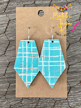 Load image into Gallery viewer, Teal Canvas Cork on Leather Earrings: Heart & Pointed Pentagon Shape Options