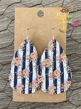 Load image into Gallery viewer, Navy and White Striped Floral Teardrops