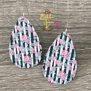 Black and White Striped Floral Teardrops