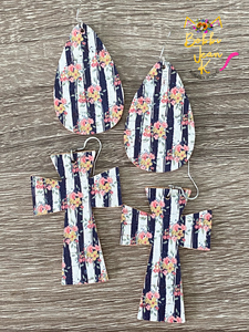 Navy and White Striped Floral Teardrops