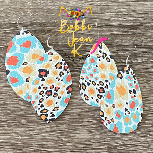 Autumn Leopard Leather Earrings: Leaf & Rounded Teardrop Shape Options