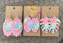 Load image into Gallery viewer, Summer Watercolor Leather Earrings: Monstera Leaf, Mini Oval, & Layered Leaf Shape Options