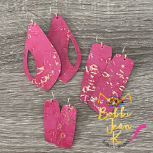 "Load image into Gallery viewer, Hot Pink ""Wildwood"" Leather Earrings: Peek a Boo Drop & Bar Shape Options"