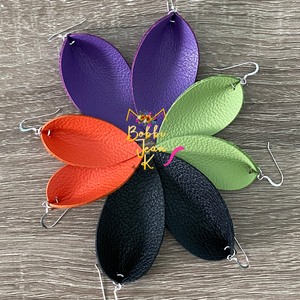 Solid Colored Pinched Teardrops: Purple, Orange, Lime Green, Black, & Gray Color Options