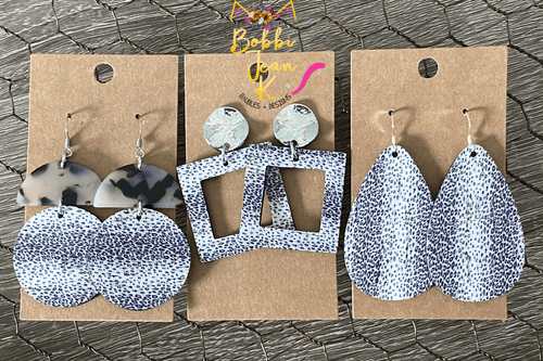 Gray & White Striped Leopard Cork on Leather Earrings- Teardrop, Circle Drop, & Square Drop Shape Options