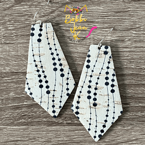 Dalmatian Dotted Cork on Leather Earrings- Elongated Oval & Pointed Pentagon Shape Options
