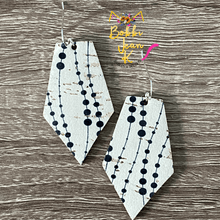Load image into Gallery viewer, Dalmatian Dotted Cork on Leather Earrings- Elongated Oval & Pointed Pentagon Shape Options