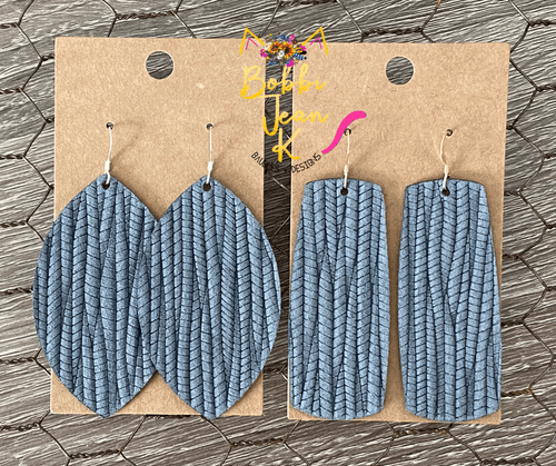 Charcoal Gray Palm Leaf Leather Earrings- Leaf & Bar Shape Options