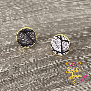 Silver & Black Lined Leather Studs- Gold or Silver Option- 12mm