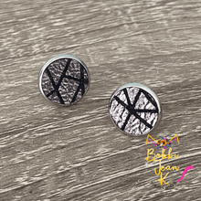 Load image into Gallery viewer, Silver & Black Lined Leather Studs- Gold or Silver Option- 12mm